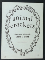 Animal Crackers Solo With Lyrics by Louise E. Stairs 1954