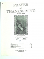 Prayer Of Thanksgiving Low Voice, PIano, Organ Dutch Melody 1943