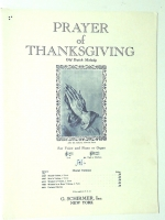 Prayer Of Thanksgiving High Voice, Piano, Old Dutch Melody 1943