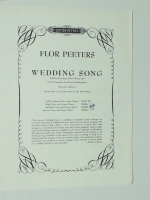 Flor Peeters Wedding Song Low Voice & Organ / Piano. 1962